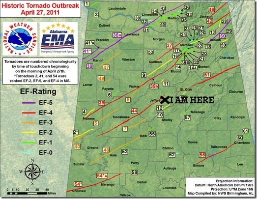 Tornado Paths April 27