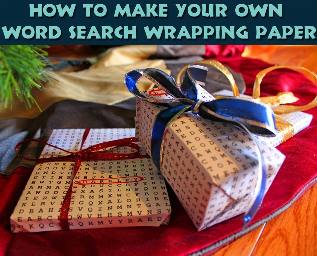 DIY Word Search Wrapping Paper