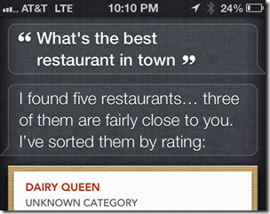 Siri Best Restaurant in Town