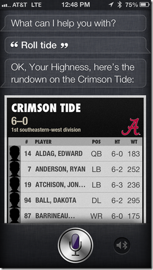 Siri Is an Alabama Fan