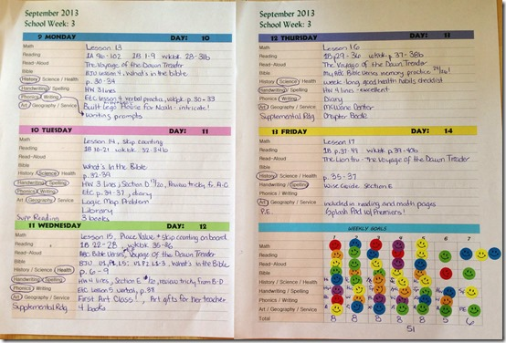 First Grade Planner Sheet for Homeschooling