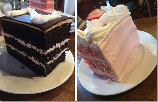 Zebra Cake and Strawberry Cake at Joe's Italian - enough to feed a large family!