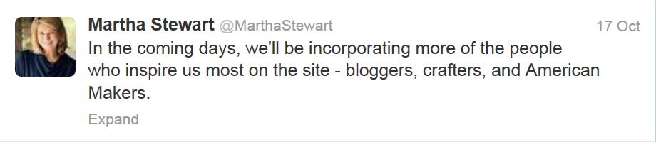 Martha Stewart Blogger Tweet