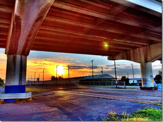 Sunset under the bridge and over Sloss Furnaces, Birmingham Alabama