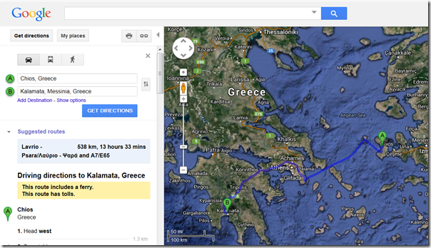 Greece Directions on Google Maps