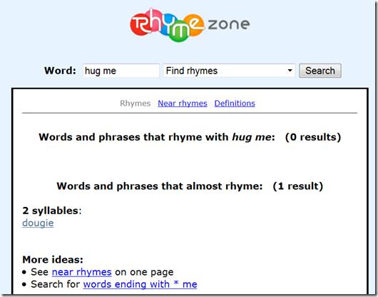 What Rhymes With Hug Me