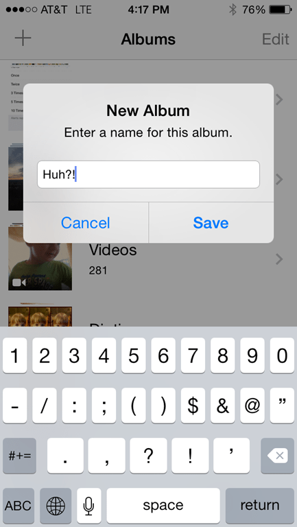 how to create private album on iphone