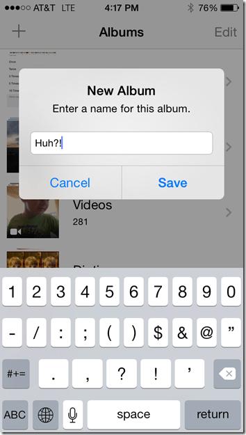 iPhone Create Album