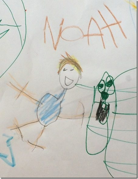 Ali's Drawing of Noah and Larry the Cucumber
