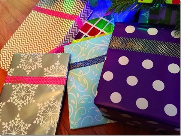 Patterned Tape on Presents