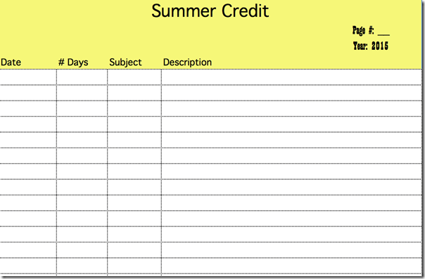 Free Summer School Credit Recordkeeping Template